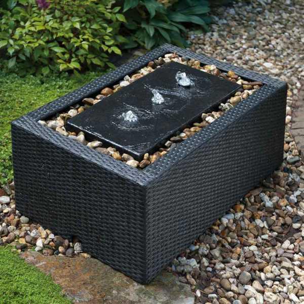 Mattschwarze Beckenumrandung Rechteck aus Kunststoffgeflecht, für Becken bis 90 Liter/ 84,5 x 53 x 33 cm ( Lieferung ohne Brunnen )