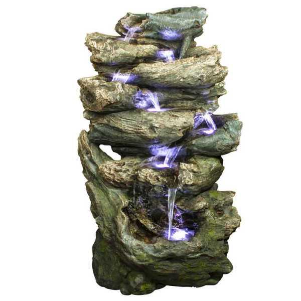 Ubbink Wasserfall Oakland, Felsstruktur, Polyresin, 91x68x152 cm, 7x8 LEDs