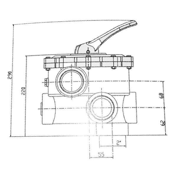 Midas 6 Wegeventil All Open Anschlüsse 63 mm Klebemuffe