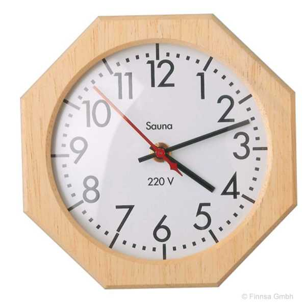 Sauna Uhr achteckig Naturholzgehäuse hitzebeständig