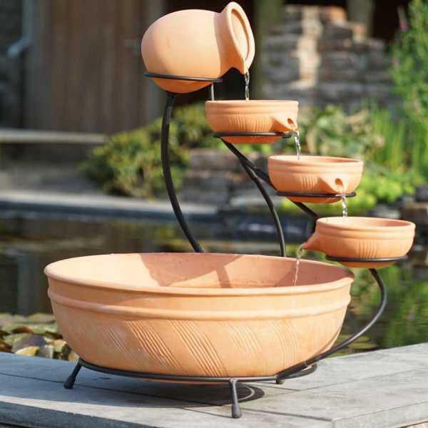 Ubbink Terracotta Brunnen, Wasserschalen Set, Terracotta, Ø 45 cm