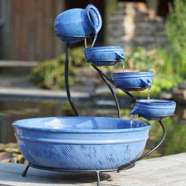 Ubbink Keramik Brunnen, Wasserschalen 3er Set, Keramik, blau, Ø 45,5 cm