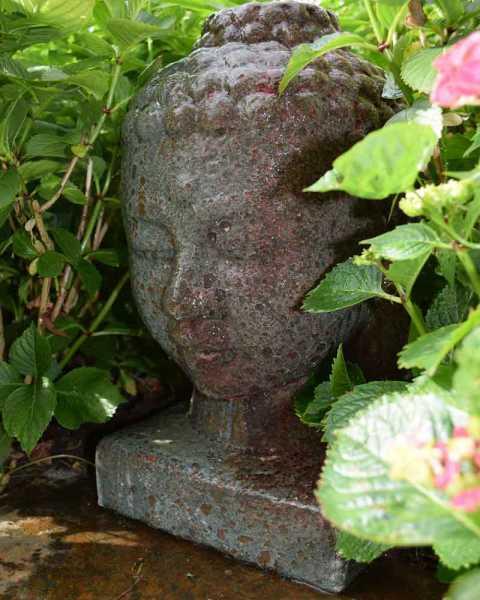 Ubbink Wasserspiel Lasa, Buddah-Kopf, Keramik, H 44x 27x27, 1x8 LED