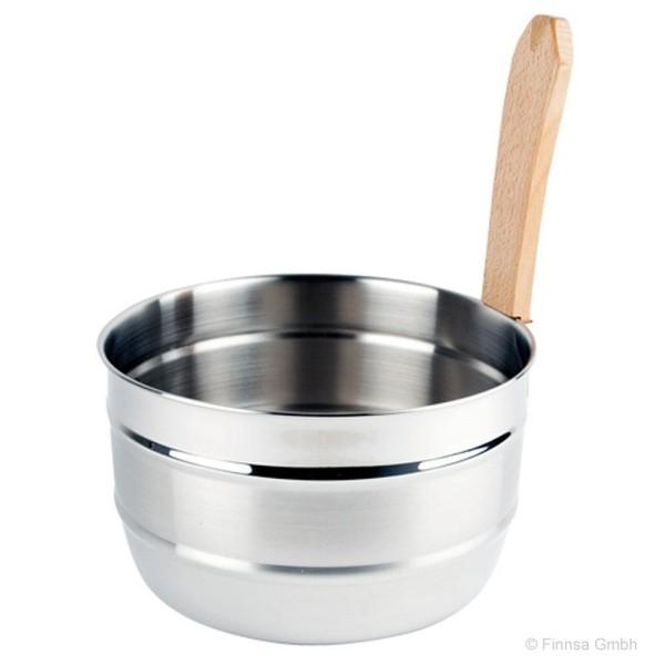 Finnsa Edelstahl Saunakübel mit Griffdaube aus Buchenholz
