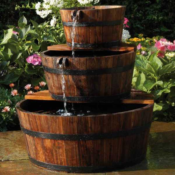 Ubbink Wasserspiel Edinburgh, rustikales Set aus Holz, 3 Fässer Ø 42/36/59 cm, Höhe ca. 72cm