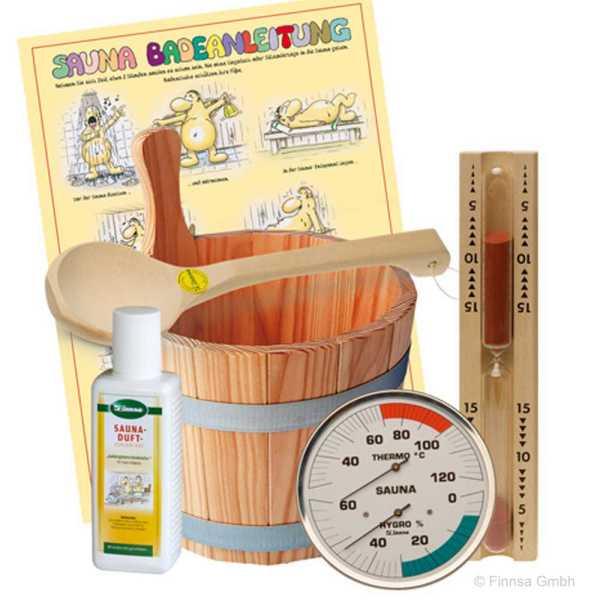 Mit diesem Sauna-Zubehör-Set erhalten Sie alles, was Sie für entspanntes Schwitzen in der Sauna benötigen. Equipment für die Heimsauna