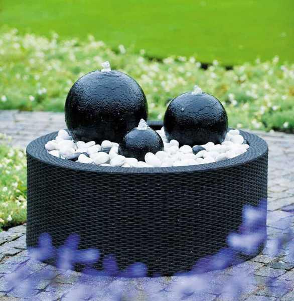 Mattschwarze Beckenumrandung aus Kunststoffgeflecht,  für Becken bis 150 Liter / Ø 90cm, H 37,5 cm ( Lieferung ohne Brunnen )