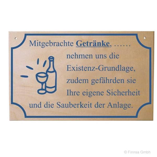 Sauna Hinweisschild  Mitgebrachte Getränke