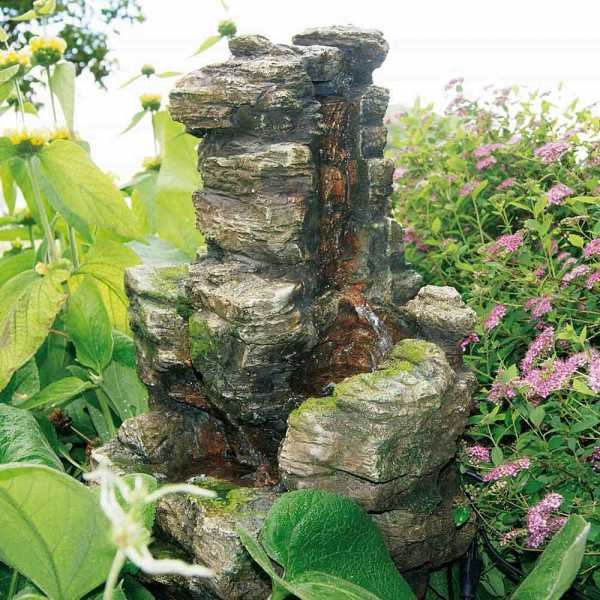 Ubbing Miniwasserfall Chios, Woodstruktur, Polyresin, 47 x 31 x 59 cm