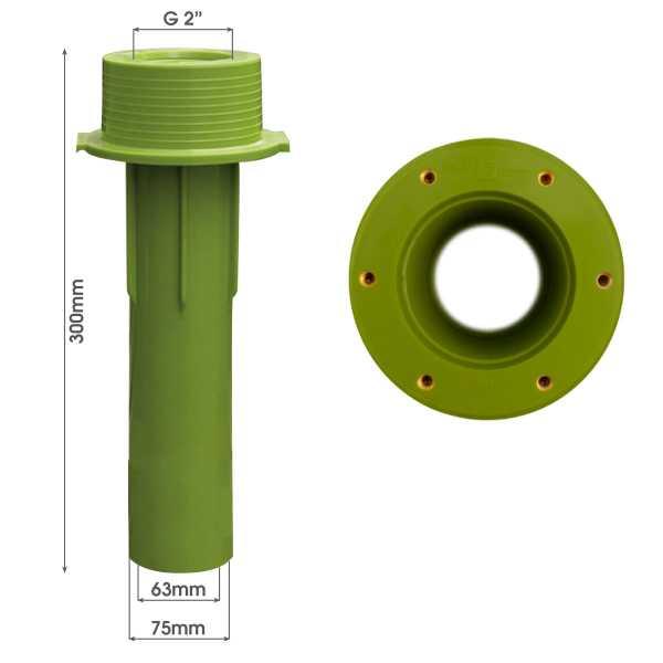MTS Beckenwanddurchführung 300 mm 63/75 mit Gewindebuchsen