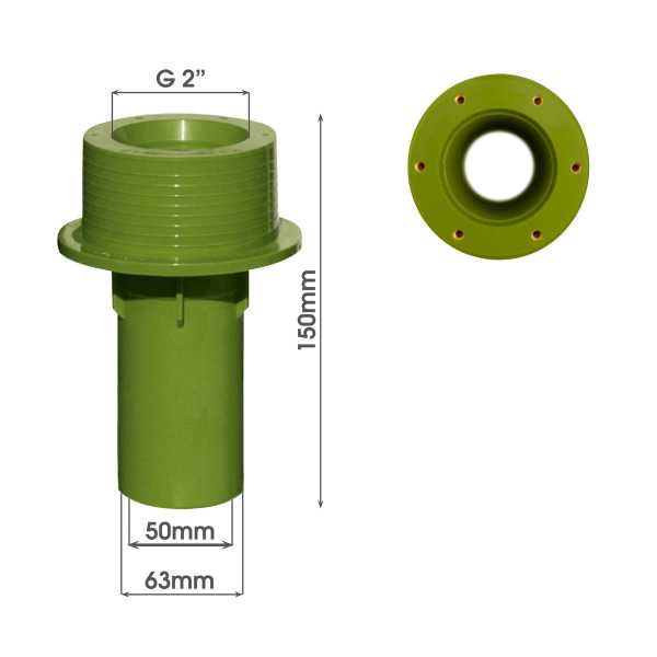MTS Beckenwanddurchführung 150 mm mit Gewindebuchsen