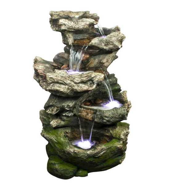 Ubbink Wasserfall Norfolk, Felsstruktur, Polyresin, 75x53x119 cm, 4x8 LEDs