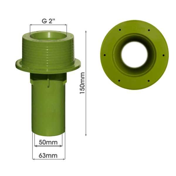 MTS Beckenwanddurchführung 150 mm mit Bohrungen