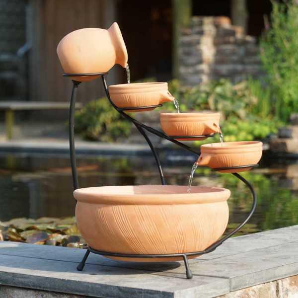 Terracotta Brunnen, Wasserschalen Set, Terracotta, Ø 36 cm