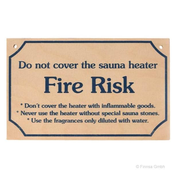 Sauna Hinweisschild Fire Risk