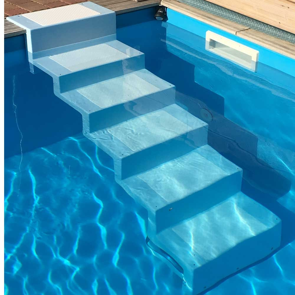 polyester pool treppen zum nachr sten von schwimmbecken. Black Bedroom Furniture Sets. Home Design Ideas