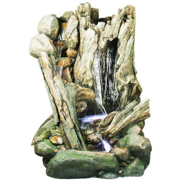 Ubbink Wasserfall San Diego, Woodstruktur, Polyresin, 148x110x202 cm, 4x8 LED